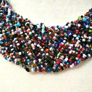 Bohemian Multicolor Necklace Wide Choker